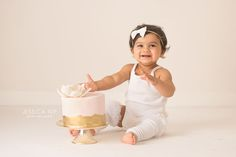Simple, pretty, and pink cake smash for this little lady! I love neutral and modern sets because they showcase the baby and cake in a pure way! http://www.jessicanip.com | Toronto, Canada | mailto:info@jessicanip.com | Jessica Nip Photography