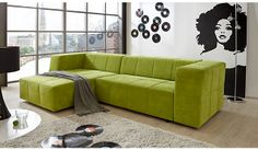 Grüne Polsterecke Havanna mit Schlaffunktion / green sofa for living room #Eckcouch