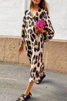 Leopard Dress Women Summer New Print V-Neck Lantern Sleeve Mid-Calf Loose Casual Womens Streetwear Lugentolo Dress Shirts For Women, Summer Dresses For Women, Dress Summer, Spring Summer, Types Of Sleeves, Dresses With Sleeves, Dresses Dresses, Sleeve Dresses, Trendy Dresses