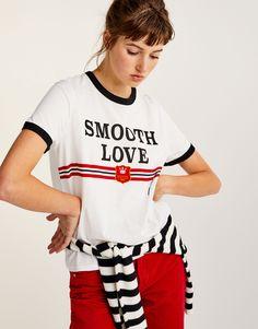 Pull&Bear - mujer - ropa - camisetas - estampadas - camiseta texto frontal - blanco - 09236318-I2017