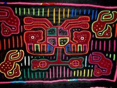 Mola Panel Reverse Applique 2Head Deer Bird Quilt Block Blouse Kuna Tribe Panama