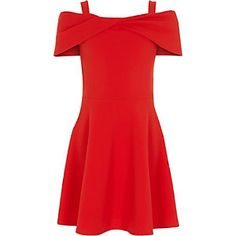 Shop our new Girls red scuba bow bardot skater dress at River Island today. Girls Clothing Brands, Girls Fashion Clothes, Tween Fashion, Fashion Outfits, Fall Fashion, Fashion Top, Teen Clothing, Clothing Stores, Girls Dresses Tween