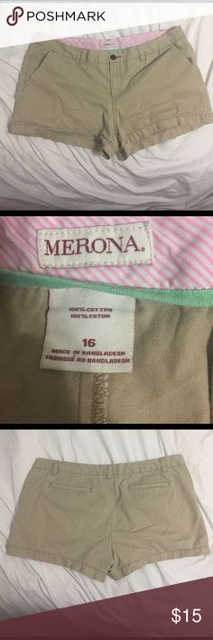 Tan shorts Size 16 , tan shorts from Merona / target . Good condition. Please feel free to make an offer !!! Merona Shorts