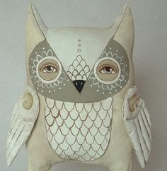 Omri-- Contemporary Folk Art Owl Doll