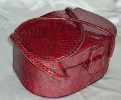 40s Burgundy Snakeskin Reptile Box Handbag by Vintageables on Etsy