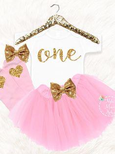 1849628c34 First Birthday Tutu Skirt, Girls 1st Birthday Outfit, Gold One Tutu Dress,  Glitter Bodysuit with Tutu Skirt, Pink Gold Tutu Skirt