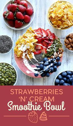 To make the smoothie, blend strawberries, yogurt, maple syrup and vanilla. The toppings are cornflakes, strawberries, blueberries, almonds, pumpkin seeds, chia seeds, and a drizzle of yogurt. Scale the toppings up or down on this one depending on what you have on hand. Get the recipe at the bottom of the post.