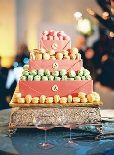"""gorgeous tiered """"cake"""" display of macarons // photo by http://JenHuangPhotography.com"""