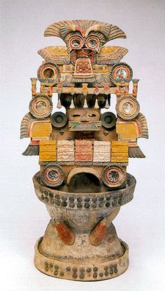 Maya incense burner from Palenque, terracotta with polychromy. C.600-800BCE