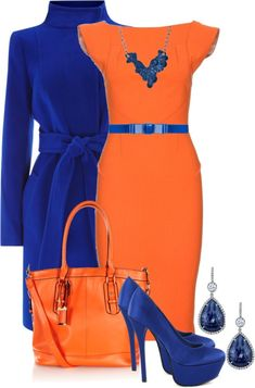 Best Classy Outfits Part 1 Orange Outfits, Blue Dress Outfits, Royal Blue Outfits, Orange Clothes, Classy Dress, Classy Outfits, Chic Outfits, Fashion Outfits, Womens Fashion