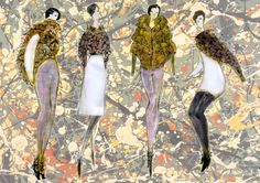 fashion illutration Pollock inspired collection