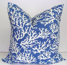 BLUE PILLOW COVER.20x20 inch Lumbar Pillow Cover.Printed Fabric Front and Back.Indoor.Outdoor.Ocean.Sealife.Nautical Cushion.Pillow Cover