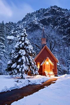 country church in winter. Yosemite... Love going here, looks more beautiful than in pic. And so peaceful.