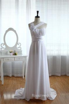 One+shoulder+flower+chiffon+beach+wedding+by+Rosaryweddingdress,+$129.00