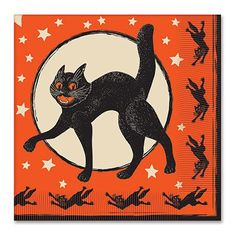 Halloween lunch and brunch, time for Halloween goodie munch. Accessorize your party table with these black and orange party napkins. It's a full moon starry night, black scratch cat is on the prowl. R
