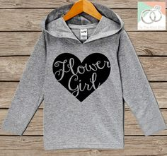 Girls Wedding Hoodie - Flower Girl Heart Oufit - Grey Hoodie Kids, Toddler, Baby - Kids Wedding Outfit - Flower Girl Pullover - Wedding Gift