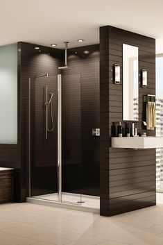 How to use a shower screen or shield to make a 4' wide walk in shower - http://blog.innovatebuildingsolutions.com/2015/06/27/4-wide-walk-shower/