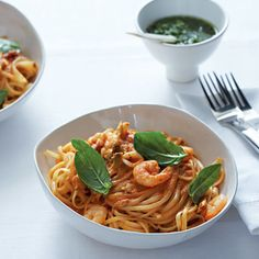 Taste Mag   Seafood pasta with tomato and basil @ http://taste.co.za/recipes/seafood-pasta-with-tomato-and-basil/
