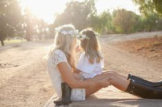 Outdoor Mother Daughter pictures at Sunset - love the flower crowns & simple matching