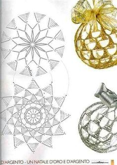 Crochet Lace to Cover a Christmas Ball - Thread with a metschematy bombek by siwabombka na Stylowi.crochet for X-Mas Crochet Ball, Crochet Chart, Thread Crochet, Crochet Motif, Diy Crochet, Crochet Patterns, Crochet Christmas Decorations, Crochet Decoration, Crochet Ornaments