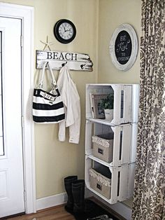 A great use for old crates..Storage!  Off the ground for easy cleaning and great for a small space!  Love it!