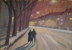 Promenade nocturne - Painting,  61x43 cm ©2008 par Inna Skliarevskaia -  Peinture