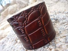 Brown Leather Bangle/Cuff Bracelet . Unisex by BOVETTA on Etsy
