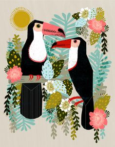 Toucans by Andrea Lauren Design. English printmaker and pattern designer currently living in the States. #toucan #tropical #bird #animal #nature #rainforest