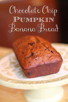 Easy chocolate chip pumpkin banana bread recipe
