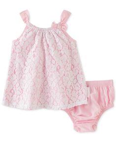 Calvin Klein Baby Girls' 2-Piece Pink Sleeveless Dress & Diaper Cover Set