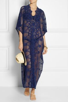 Miguelina. Racquel crocheted cotton-lace kaftan.