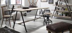 Mesa de comedor de madera y patas de hierro modelo MHIAN http://www.vadesillas.com/producto/mesa-comedor-180-mod-mhian/