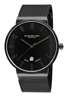 Price:$99.25 #watches Stuhrling Original 327G.33591, The Men's Monticello is a Stuhrling Original timepiece from the Classic Collection designed with a stainless steel case and a mesh bracelet. It features a date display above the 6 o'clock and is water resistant to 99 feet. This Swiss Quartz men's watch is the perfect combination of elegance and style.
