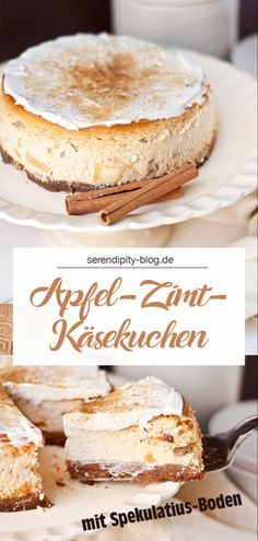 RECIPE :: Apple and cinnamon cheesecake with a specula REZEPT :: Apfel-Zimt-Käsekuchen mit Spekulatiusboden Apple and cinnamon cheesecake with a specula bottom - Cinnamon Cheesecake, Cheesecake Recipes, Cookie Recipes, Snack Recipes, Dessert Recipes, Apple Cheesecake, Cinnamon Desserts, Food Cakes, Healthy Snack Recipes