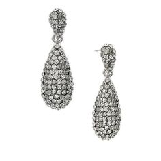 2028 Silver-Tone Crystal Pavé Teardrop Earrings