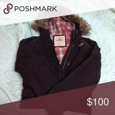 Brown jacket with fur lined hood Brown Hollister jacket with fur lined hood. Fur detaches to wash jacket. Medium. Super warm. Hollister Jackets & Coats
