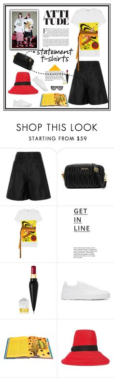 """Say What: Statement T-Shirts"" by likepolyfashion ❤ liked on Polyvore featuring Miu Miu, Lipsy, Christian Louboutin, Jil Sander, Rizzoli Publishing, Dsquared2, Yves Saint Laurent, fashionset, buckethat and statementtshirt"