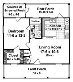 600 Livable Square Feet  1 Bedroom  1 Bathroom  1 Floor  Footprint 30 x 32 ft