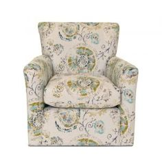 Boston Interiors Amelia Swivel Glider. Exclusive to Boston Interiors, and stocked in a tan pattern fabric with tight seat and back cushions.