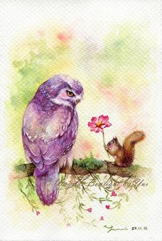 PRINT of Watercolor painting x The artwork print reproduction of my Original Watercolor painting. Printed area: x 11 Paper size: by Wayside Boutique - Yui Owl Watercolor, Watercolor Animals, Watercolor Illustration, Watercolor Paintings, Watercolors, Bird Paintings On Canvas, Cute Paintings, Animal Paintings, Owl Artwork