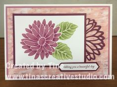 My first card for this week's class using the Special Reason stamp set and coordinating dies from Stampin Up. I also coloured over the top of the stamped flower and leaves using the gorgeous new watercolour pencils from Stampin Up. Flower Stamp, Flower Cards, Stampin Up Anleitung, Fall Cards, Cards For Friends, Christmas Gift Tags, Scrapbook Cards, Scrapbooking, Happy Birthday Cards