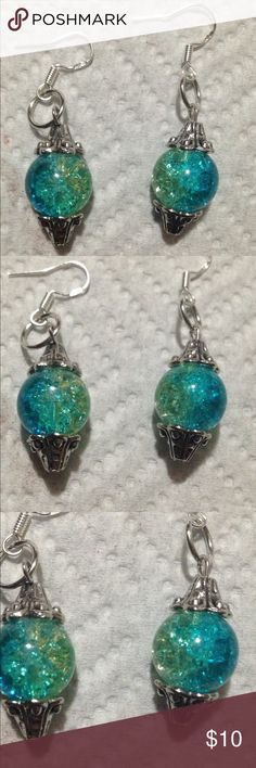 Spotted while shopping on Poshmark: Blue and Green Sparkly Glass Earrings! #poshmark #fashion #shopping #style #PeaceFrog #Jewelry