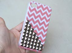 silver Metal pyramid stud Chevron iPhone 4 Case, iPhone 4s Case, iPhone 4 Hard Case, iPhone Case. $11.99, via Etsy.