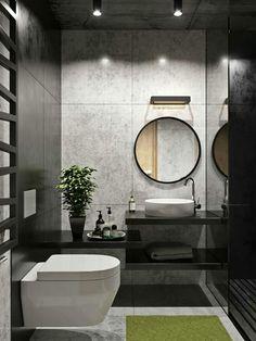 Санузел love the fabulous grey & black walls in this beautif Bathroom Design Luxury, Modern Bathroom Design, Bathroom Layout, Bathroom Ideas, Modern Toilet Design, Bath Ideas, Bathroom Designs, Bathroom Renovations, Grey Bathrooms