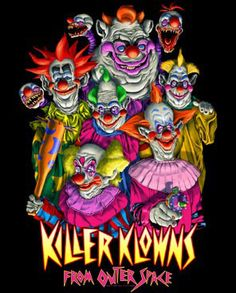 Killer Klowns from Outer Space - The Klowns T-Shirt Badass Drawings, Demon Drawings, Creepy Clown, Creepy Dolls, Horror Films, Horror Art, Outer Space Wallpaper, Outer Space Tattoos, Horror Pictures