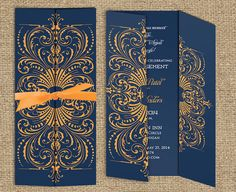 Indian Wedding Invitation: The Agra Collection - Gatefold Invitation with a Satin Ribbon Bow on Etsy, $1.90