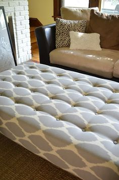 How to tuft an ottoman (includes link to making ottoman out of a table)