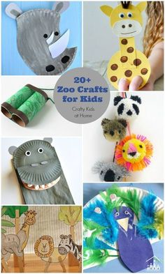 Zoo Crafts for Kids – Crafty Kids at Home Zoo animals! Kids love going to the zoo to see and learn about different animals. And making Zoo Crafts when you get home is a great way to extend the fun. A zoo theme/study unit is also perfect for preschoolers. The Zoo, Animal Activities, Toddler Activities, Zoo Animals, Animals For Kids, Wild Animals, Preschool Crafts, Kids Crafts, Preschool Zoo Theme