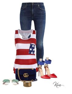 """Stars and Stripes"" by ksims-1 ❤ liked on Polyvore featuring Christian Louboutin and Gucci"