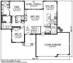 Cottage Craftsman Traditional House Plan 75201 Level One